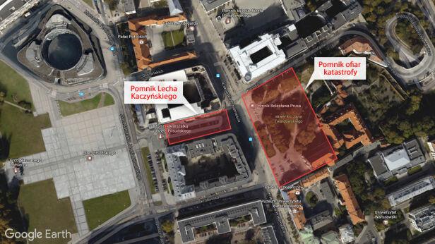 Orientacyjne lokalizacje monumentów Google Earth