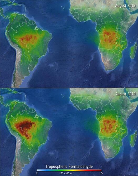Poziom formaldehydu w sierpniu 2018 i sierpniu 2019