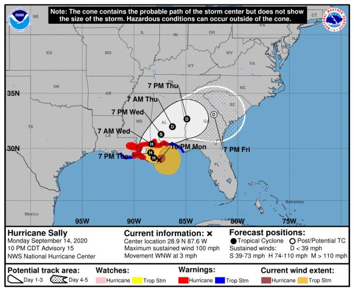 Prognozowana trasa huraganu Sally (NHC)
