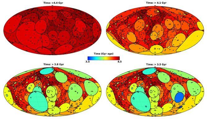 Rozmieszczenie i rozmiary kraterów po uderzenia asteroid w Ziemię.