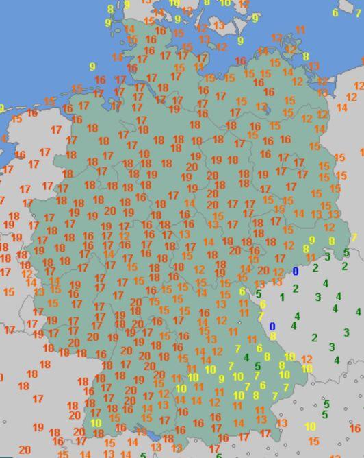 Temperatura maksymalna w Niemczech 21 lutego (wetteronline.de)