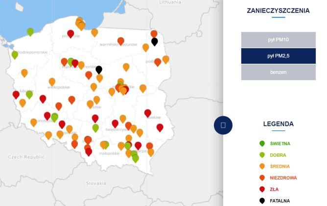 Stężenie pyłu PM2,5o godzinie 19 (tvnmeteo.pl za GIOŚ)