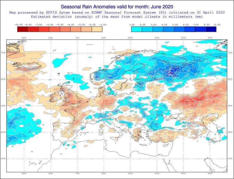Prognozowane odchylenie miesięcznej sumy opadów w czerwcu 2020 od normy wieloletniej (ECMWF)