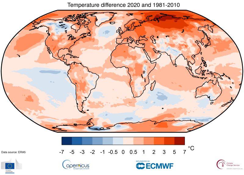 Anomalie temperatury powietrza w 2020 roku (Copernicus Climate Change Service/ECMWF)