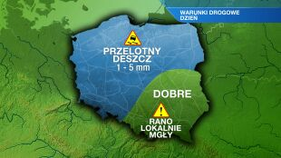 Suche drogi prawie w całej Polsce. Lokalnie może pokropić